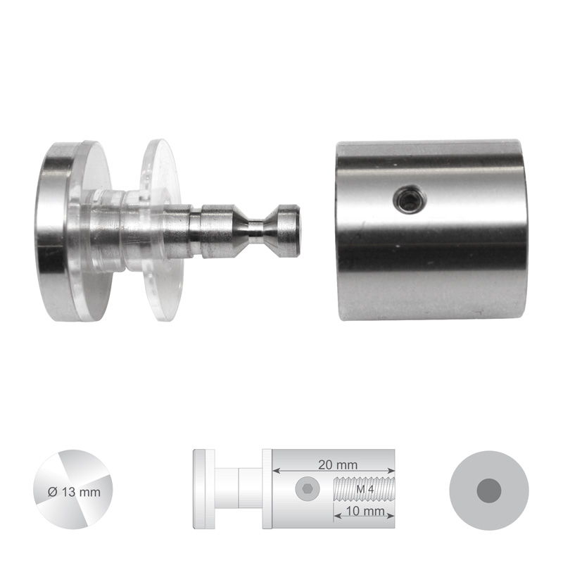 Klassieke glashouder RVS met platte kop Ø 13 mm Wandafstand 20 mm boorgat Ø 10 mm
