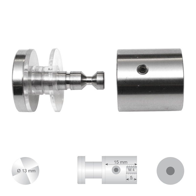 Klassieke glashouder RVS met platte kop Ø 13 mm Wandafstand 15 mm boorgat Ø 10 mm