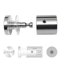 Klassieke glashouder RVS met platte kop diameter 18 mm wandafstand 25 mm boorgat diameter 13 mm