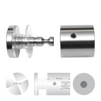 Klassieke glashouder RVS met platte kop diameter 25 mm wandafstand 25 mm boorgat diameter 13 mm