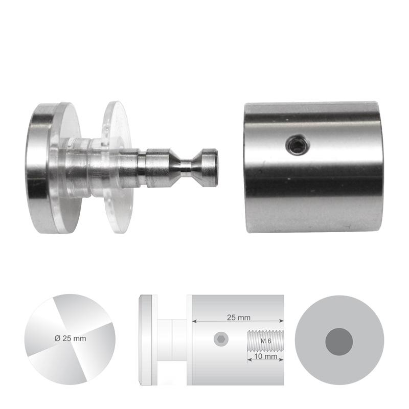 Klassieke glashouder RVS met platte kop Ø 25 mm wandafstand 25 mm boorgat Ø 13 mm