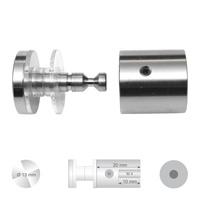 Klassieke glashouder RVS-A4 met platte kop inclusief 2 acryllagers en inbusbout M 4x5 ter beveiliging.