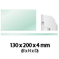 Glasplaat 130 x 200 x 4 mm 2 gaten Ø 10 mm