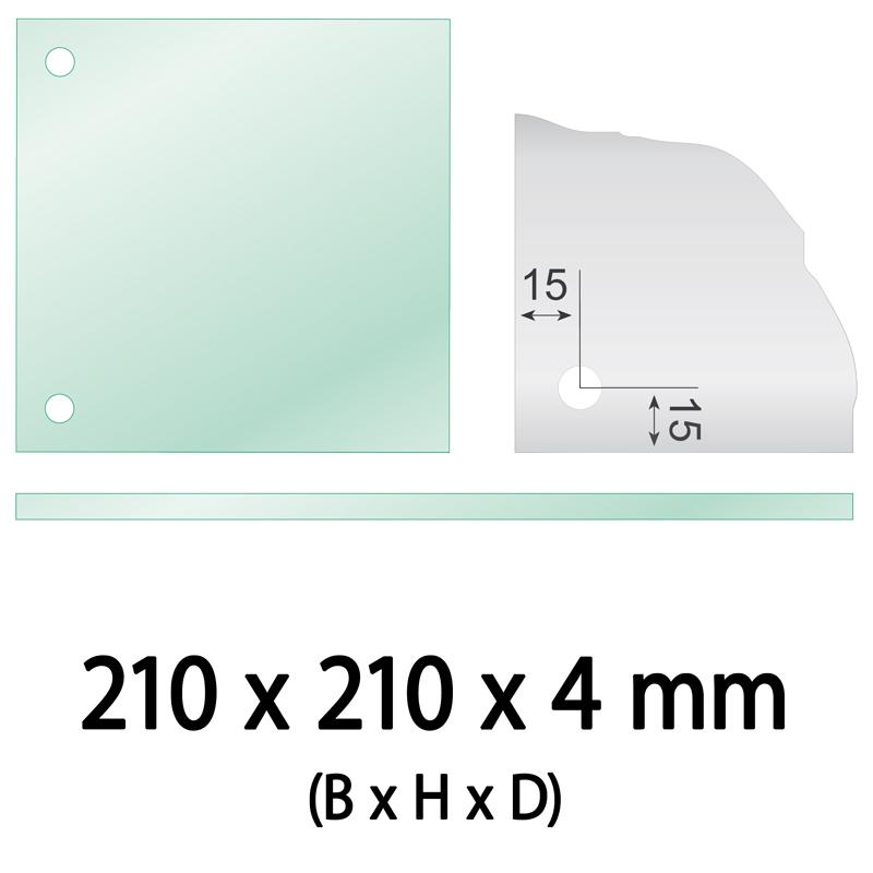 Float glas 4 mm 2 gaten vierkant 210 x 210 x 4 mm Ø 10 mm