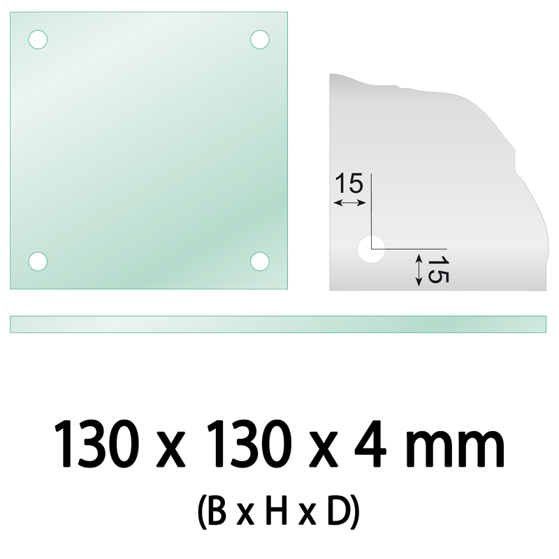 Float glas 4 mm 4 gaten vierkant 130 x 130 x 4 mm Ø 10 mm