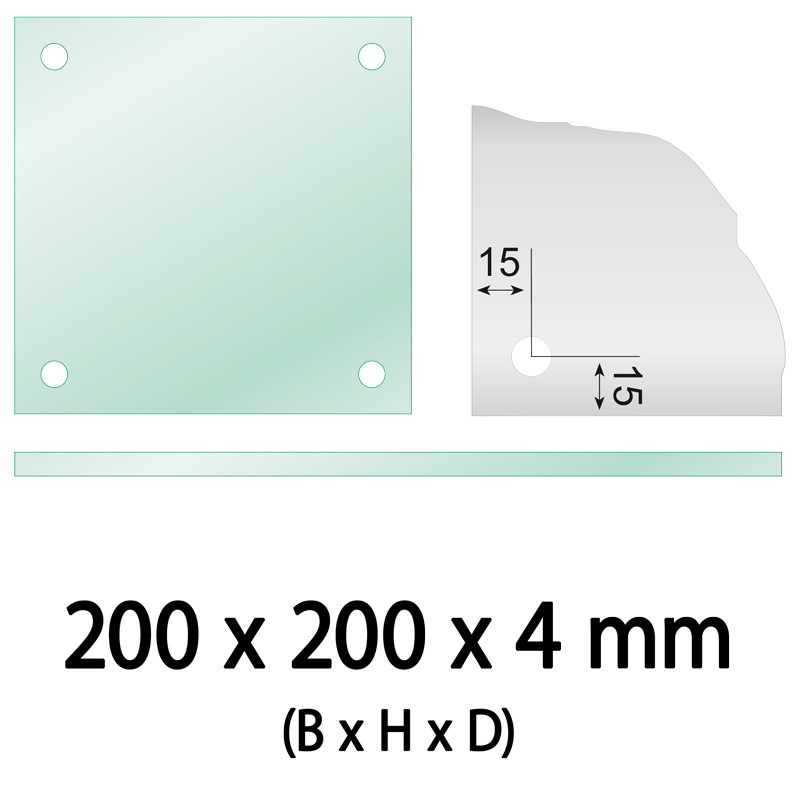 Float glass 200 x 200 x 4 mm 4 holes