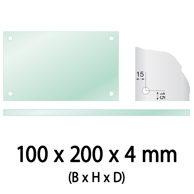 Float glass 100 x 200 x 4 mm 4 holes