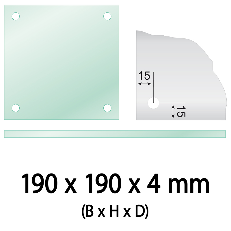 Float glass 190 x 190 x 4 mm 4 holes