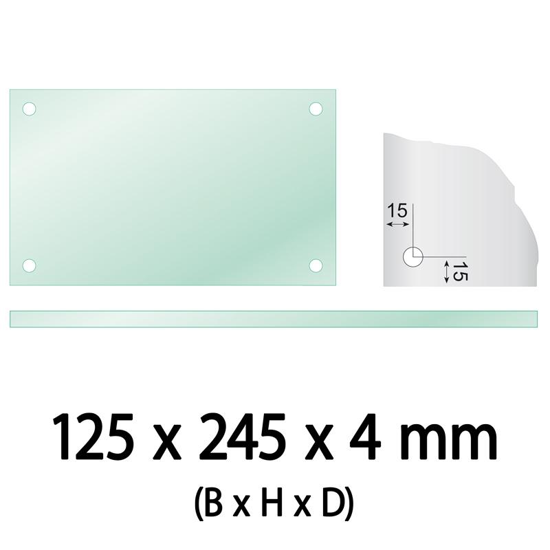 Float glas 4 mm 4 gaten langwerpig 125 x 245 x 4 Ø 10 mm
