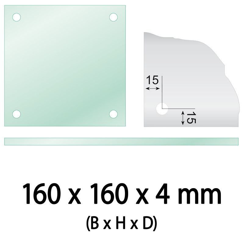 Float glass 160 x 160 x 4 mm 4 holes