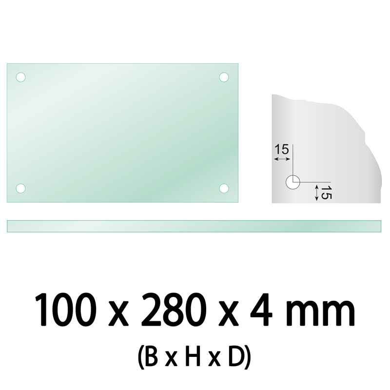 Float glass 100 x 280 x 4 mm 4 holes