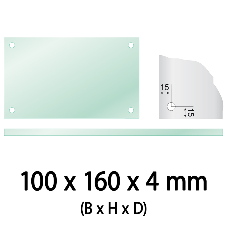 Float glass 100 x 160 x 4 mm 4 holes