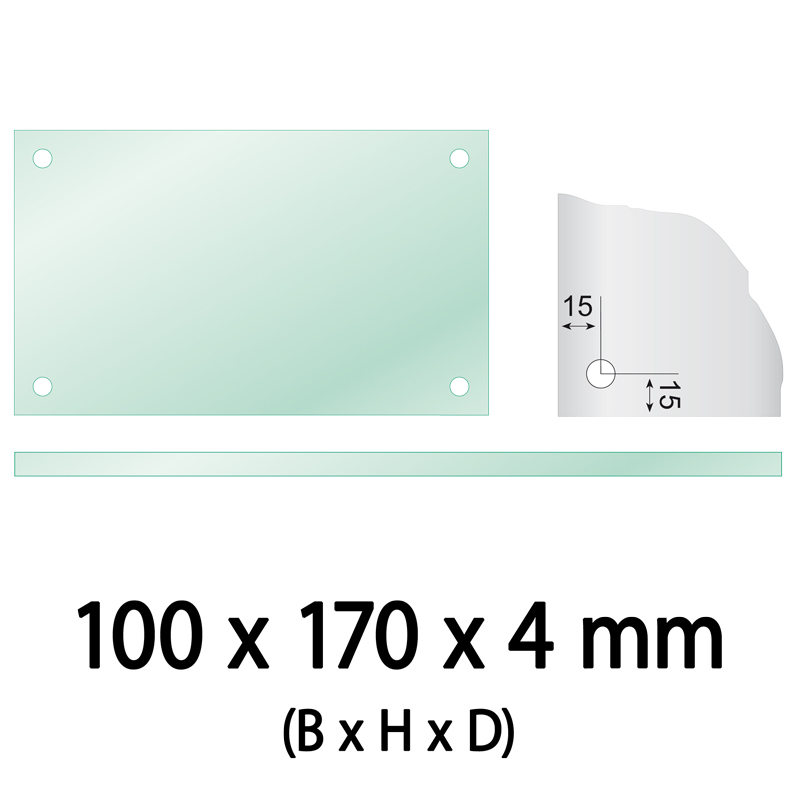 Float glass 100 x 170 x 4 mm 4 holes