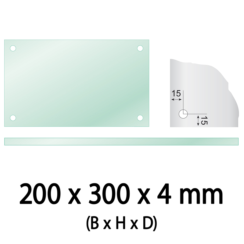 Float glass 200 x 300 x 4 mm 4 holes