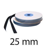Velcro autocollant, largeur 25 mm, crochet, noir