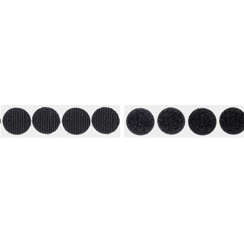 Self-adhesive Velcro circles, Ø 22 mm, hook, black