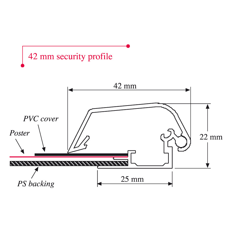 Security frame profile 42 mm