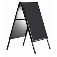 Klik-A standaard 600 x 800 mm zwart met weerbestendig beschrijfbaar bord