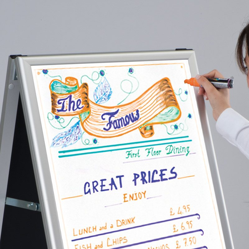 A-board whiteboard aluminum frame 600 x 800 mm
