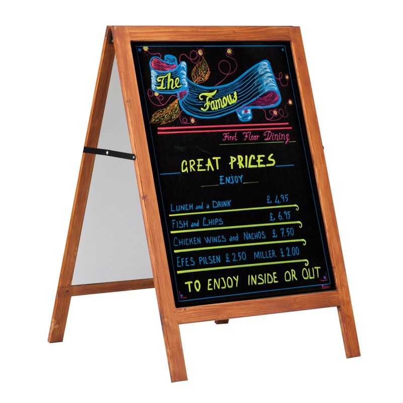 Wooden stopper with black chalkboard massive wood 600 x 800 mm
