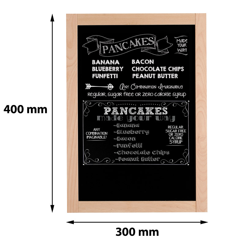 Single-sided wooden frame with black chalkboard 300 x 400 mm