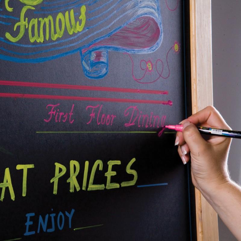 Krijtbord pennen, rood-geel-roze-groen-oranje