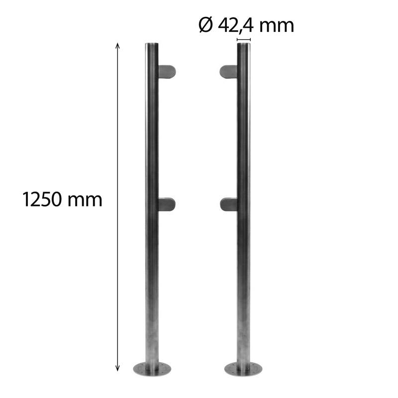 2 stainless steel poles 42 mm height 1250 mm