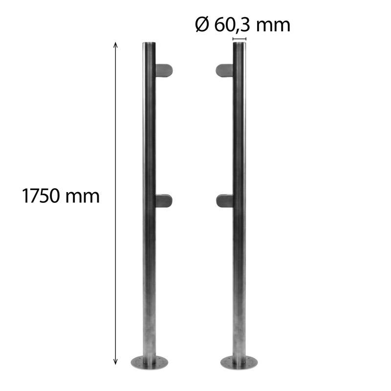 2 stainless steel poles 60 mm height 1750 mm
