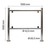 Stainless steel H-frame 60/42 x 1000 x 1500 mm
