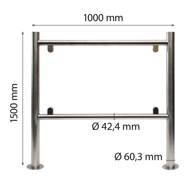 Stainless steel H-frame 60/42 x 1500 x 1000 mm plate thickness 6 mm