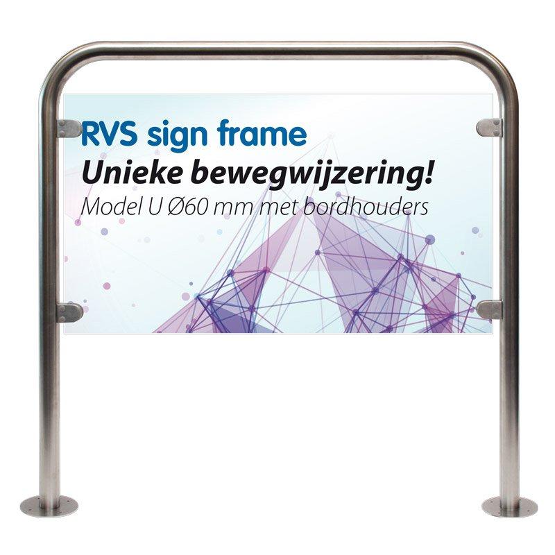 RVS frame model U Ø 60 mm 1000 x 1250 mm plate thickness 2-8 mm