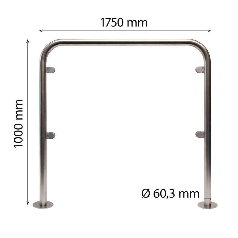 Stainless steel U-frame 60 x 1000 x 1750 mm