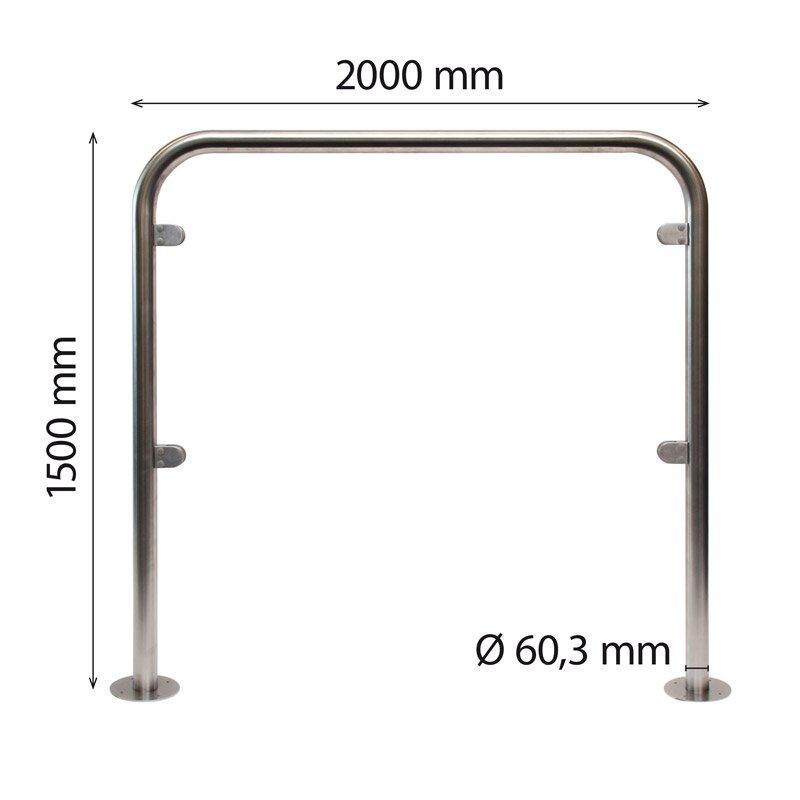 Stainless steel U-frame 60 x 1500 x 2000 mm