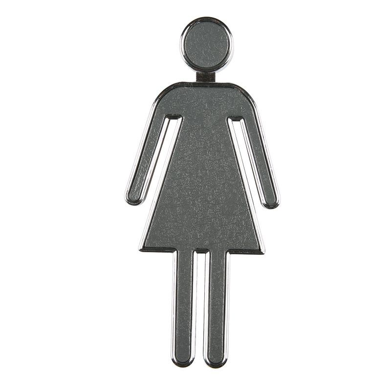 Toilet Signs Chrome Women 100 mm height