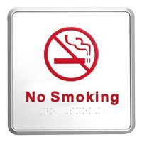 No Smoking bord zilver 127 x 127 mm