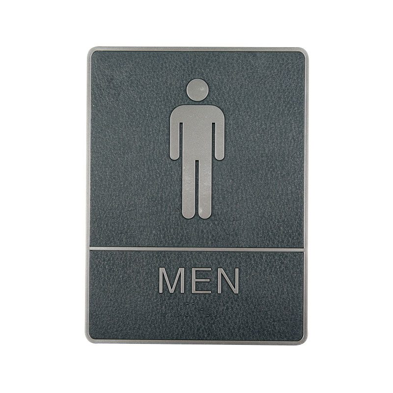 Plastic signs with braille silver man