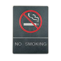 Plastic signs with braille silver no smoking
