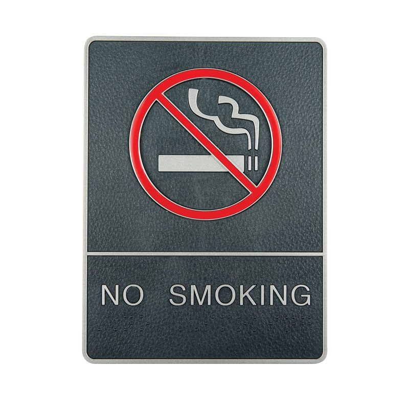 Plastic signs avec braille argent no smoking
