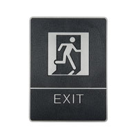 Plastic signs with braille silver exit