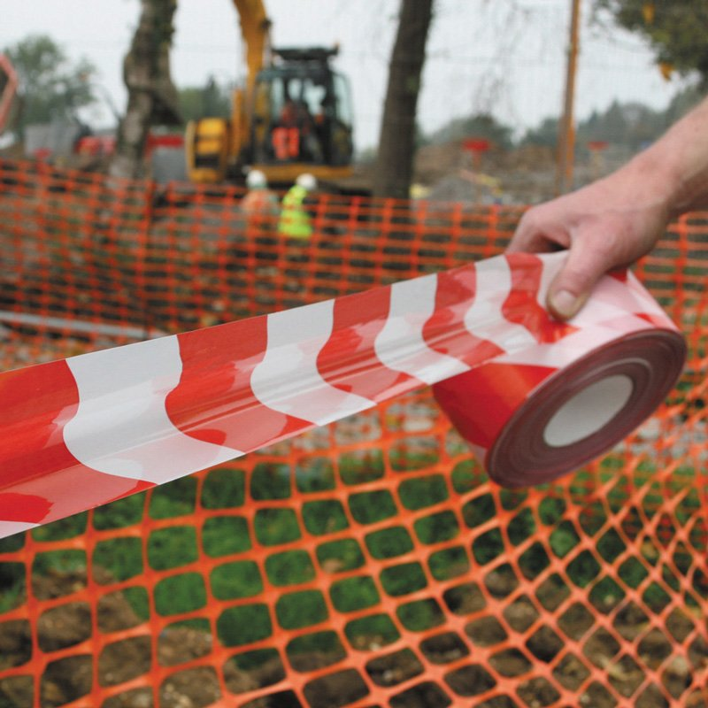 Barrier tape rood/wit 70 mm x 500 m