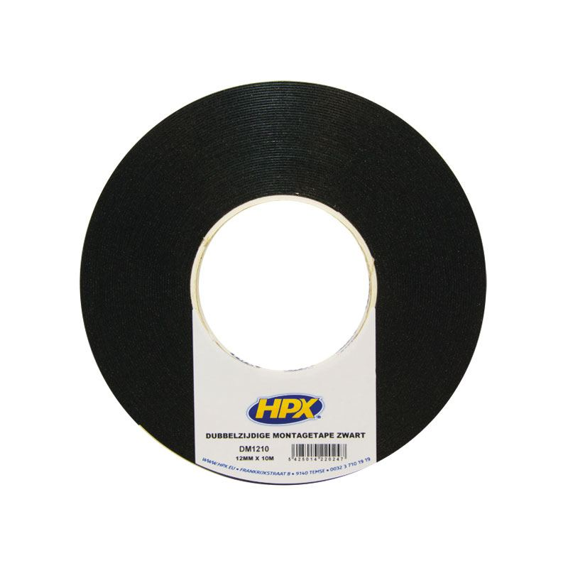 Double-sided mounting tape black 12 mm