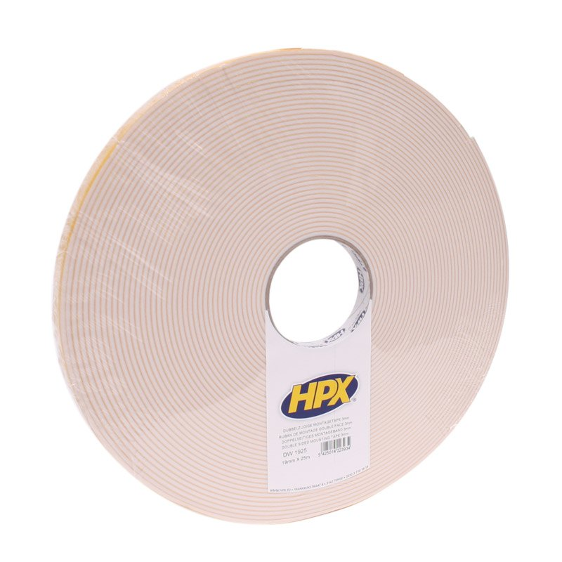 Double-sided foam tape 3 x 19 x 25 000 mm roll on white