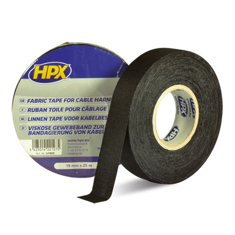 Linen tape 19 mm 25 m black