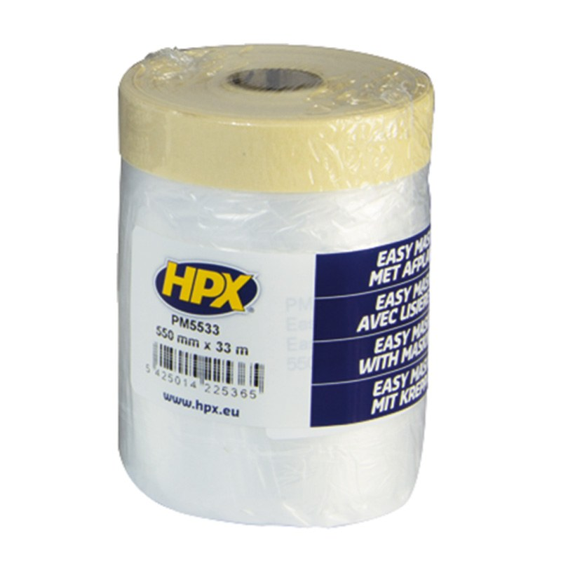 HDPE foil with tape 550 mm x 16 m transparent