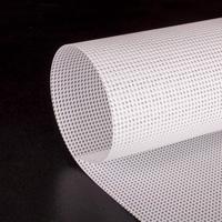 IKONOS Meshdoek 45% lucht doorlating Kleur: wit mat Breedte: 250 cm  Rol lengte: 50 meter  Dikte: 380 gram